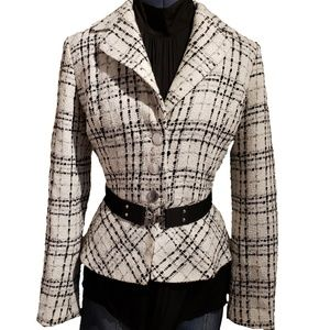 White House Black Market White Tweed Blazer